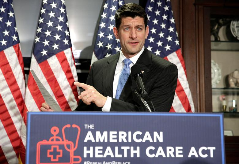 Speaker of the House Paul Ryan (R-WI) speaks about the American Health Care Act, the Republican replacement to Obamacare, at the Republican National Committee in Washington, U.S., March 8, 2017.      REUTERS/Joshua Roberts