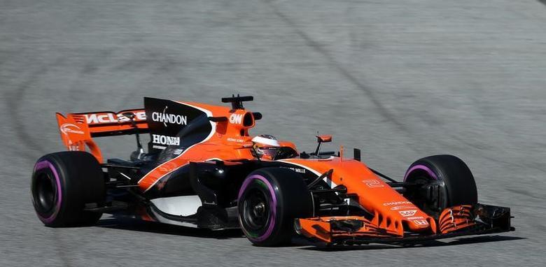 Formula One - F1 - Test session - Barcelona-Catalunya racetrack in Montmelo, Spain - 9/3/17. McLaren's Stoffel Vandoorne in action. REUTERS/Albert Gea - RTS1254S