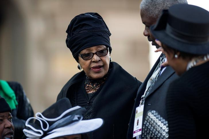 FILE PHOTO: Winnie Madikizela Mandela, ex-wife of former South African president Nelson Mandela, attends the inauguration ceremony of South African President Jacob Zuma at the Union Buildings in Pretoria, South Africa, May 24, 2014. REUTERS/Mujahid Safodien/Pool/File Photo
