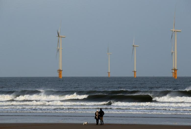 A couple walk their dog on Redcar beach past an offshore wind farm in Redcar, northeast England January 11, 2015.  REUTERS/Andrew Yates