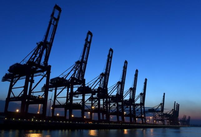 Loading cranes are seen at a shipping terminal at the harbour in Hamburg April 4, 2015. REUTERS/Fabian Bimmer