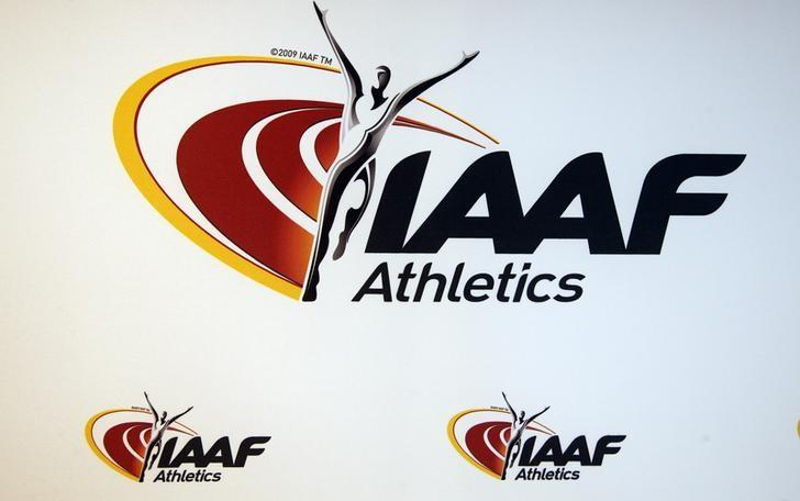 The logo of the International Association of Athletics Federations (IAAF) is seen in Monaco, March 11, 2016.   REUTERS/Eric Gaillard /files