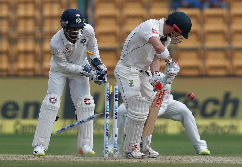 Australia's David Warner is bowled out by India's Ravichandran Ashwin. REUTERS/Danish Siddiqui