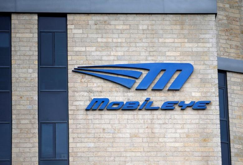 The logo of Israeli driverless technology firm Mobileye is seen on their office building in Jerusalem March 13, 2017. REUTERS/Ronen Zvulun - RTX30S2A