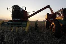 IMAGEN DE ARCHIVO. Una cosechadora en un maizal en Valdés, Argentina. mayo 26, 2012. La firma de análisis agrícola Informa Economics elevó su proyección de la superficie sembrada de soja y maíz en Estados Unidos para 2017, dijeron el lunes fuentes del sector.   REUTERS/Enrique Marcarian