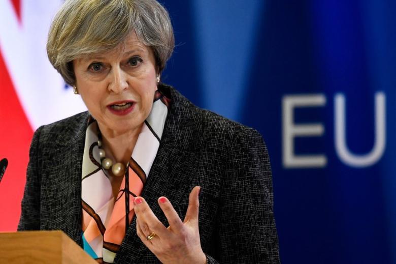 2017年3月9日,比利时布鲁塞尔,英国首相特雷莎·梅出席欧盟峰会。REUTERS/Dylan Martinez