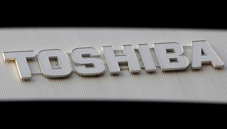 FILE PHOTO -  A logo of Toshiba Corp is seen outside an electronics retail store in Tokyo, Japan, January 19, 2017. REUTERS/Toru Hanai/File Photo