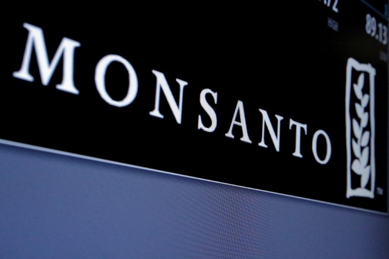 Monsanto logo is displayed on a screen where the stock is traded on the floor of the New York Stock Exchange (NYSE) in New York City, U.S. on May 9, 2016. REUTERS/Brendan McDermid/File Photo - RTX2UVSG