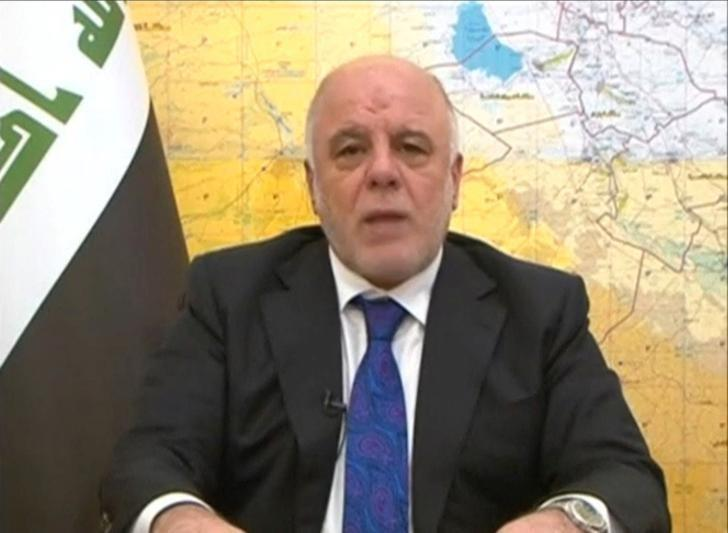 Iraq's Prime Minister Haider al-Abadi announces the start of an offensive to retake the western side of Mosul as troops begin to move towards Islamic State, in this still image from video by Iraqiya TV February 19, 2017. Iraqiya TV/via Reuters TV/Files