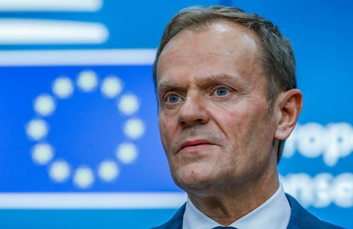 European Council President Donald Tusk takes part in a news conference after being reappointed chairman of the European Council during a EU summit in Brussels, Belgium, March 9, 2017. REUTERS/Yves Herman/Files