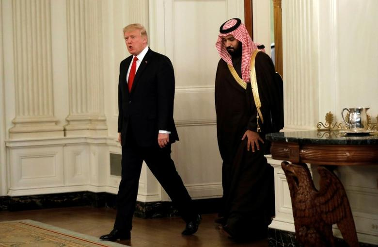 U.S. President Donald Trump and Saudi Deputy Crown Prince and Minister of Defense Mohammed bin Salman enter the State Dining Room of the White House in Washington, U.S., March 14, 2017. REUTERS/Kevin Lamarque