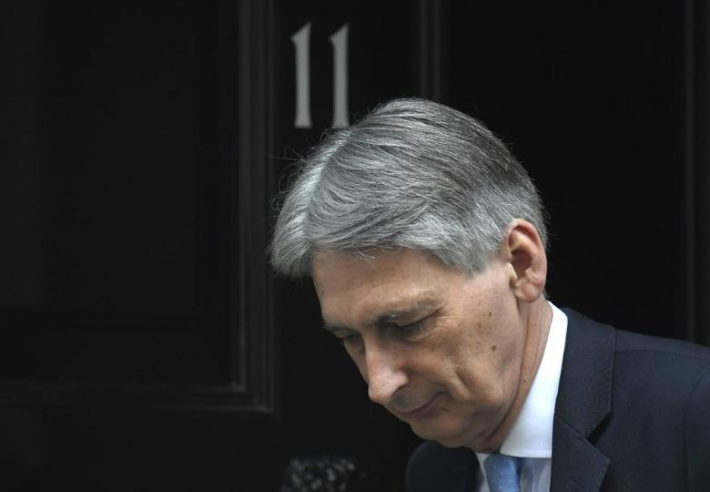 Britain's Chancellor of the Exchequer Hammond leaves Downing Street in London, Britain, March 15, 2017. REUTERS/Toby Melville/Files