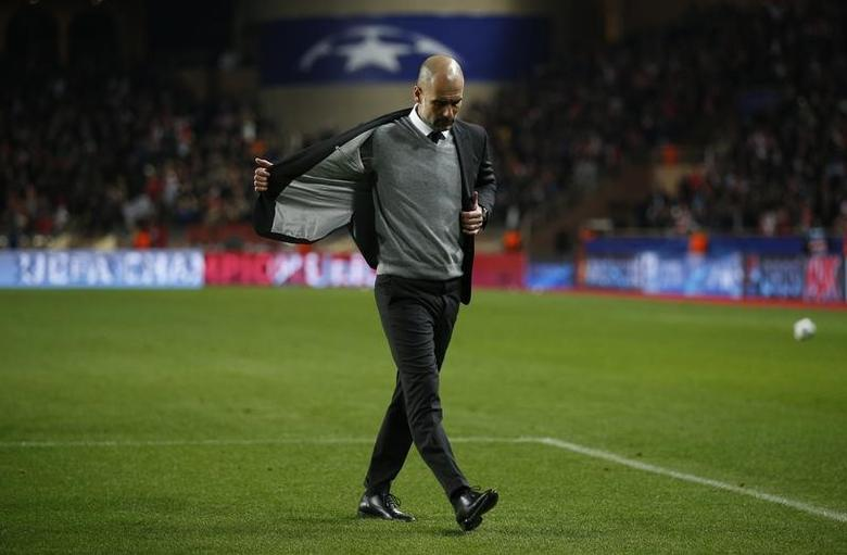 Soccer Football - AS Monaco v Manchester City - UEFA Champions League Round of 16 Second Leg - Stade Louis II, Monaco - 15/3/17 Manchester City manager Pep Guardiola looks dejected after the game   Action Images via Reuters / Andrew Couldridge Livepic