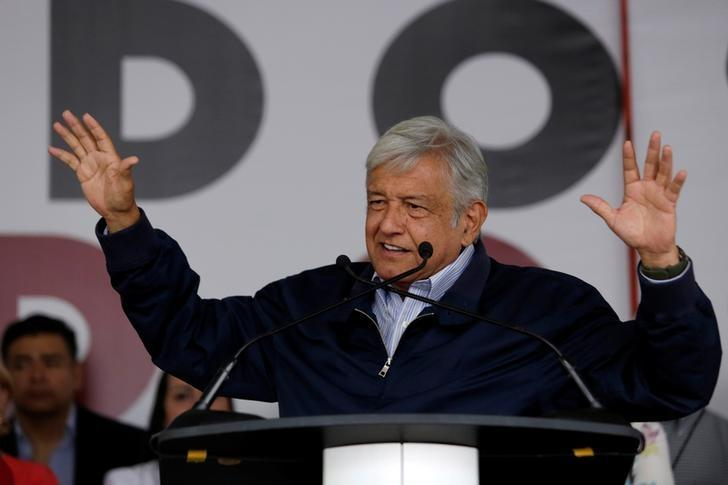 Mexican politician Andres Manuel Lopez Obrador, leader of the National Regeneration Movement (MORENA) addressee the audience during a meeting at Plaza Zaragoza in Monterrey, Mexico February 25, 2017. REUTERS/Daniel Becerril/Files