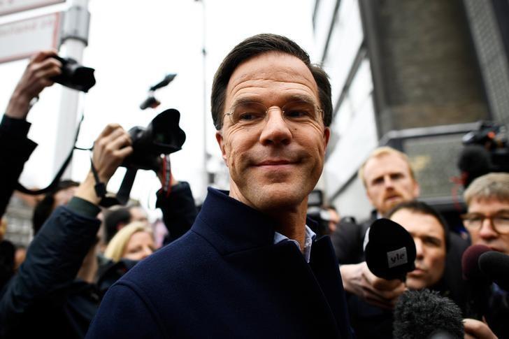 2017年3月14日,荷兰海牙,荷兰首相吕特参加选举造势活动。REUTERS/Dylan Martinez