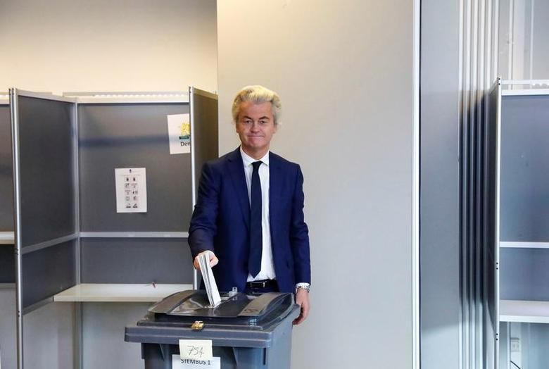 Dutch far-right politician Geert Wilders of the PVV party votes in the general election in The Hague, Netherlands, March 15, 2017. REUTERS/Yves Herman