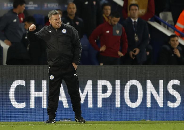 Britain Soccer Football - Leicester City v Sevilla - UEFA Champions League Round of 16 Second Leg - King Power Stadium, Leicester, England - 14/3/17 Leicester City manager Craig Shakespeare celebrates after the game  Action Images via Reuters / Carl Recine Livepic