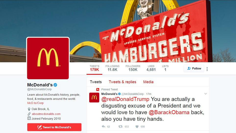McDonald's deletes Trump tweet, says Twitter account ...