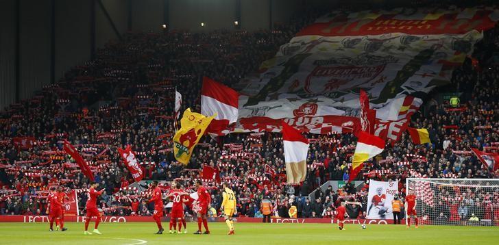 Britain Football Soccer - Liverpool v Burnley - Premier League - Anfield - 12/3/17 General view as Liverpool fans unveil a banner  Action Images via Reuters / Jason Cairnduff Livepic