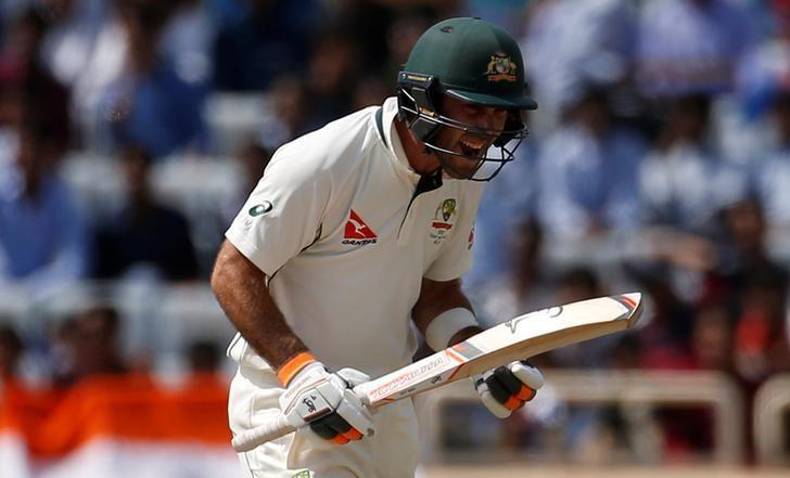 Cricket - India v Australia - Third Test cricket match - Jharkhand State Cricket Association Stadium, Ranchi, India - 17/03/17 - Australia's Glenn Maxwell celebrates his century. REUTERS/Adnan Abidi