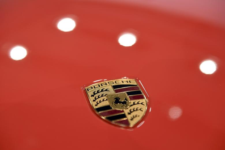 The logo of German carmaker Porsche AG is seen before the company's annual news conference in Stuttgart, Germany, March 17, 2017.   REUTERS/Lukas Barth