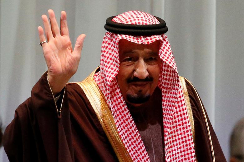 Saudi King Salman bin Abdulaziz Al-Saud waves as he attends Saudi-Japan Vision 2030 Business Forum in Tokyo, Japan, March 14, 2017. REUTERS/Toru Hanai