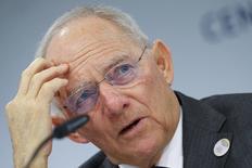 El ministro alemán de Finanzas, Wolfgang Schaeuble, durante una conferencia de prensa en la cumbre del G-20 celebrada en Baden Baden, Alemania. 18 marzo 2017. Hubo un amplio consenso entre los líderes financieros del G-20 en que la apertura comercial es clave para fortalecer la solidez económica, dijo el ministro de Finanzas alemán, minimizando la falta de un rechazo claro al proteccionismo por parte del foro. REUTERS/Kai Pfaffenbach