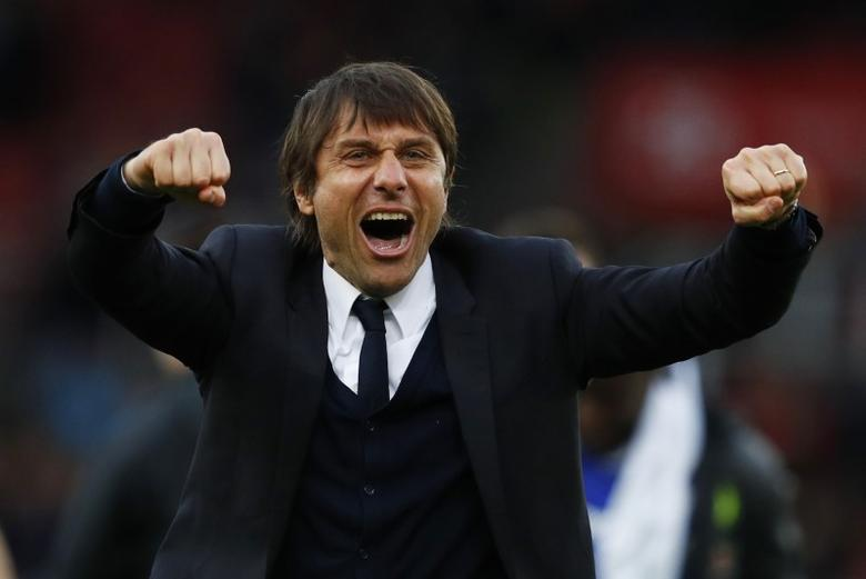Britain Football Soccer - Stoke City v Chelsea - Premier League - bet365 Stadium - 18/3/17 Chelsea manager Antonio Conte celebrates after the game  Reuters / Phil Noble Livepic