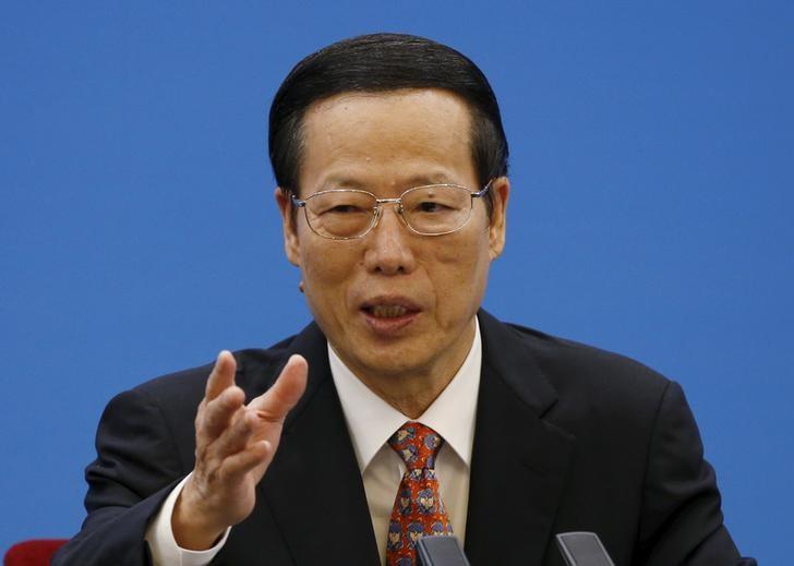 资料图片:中国国务院副总理张高丽于2015年12月在人民大会堂发表讲话。REUTERS/Kim Kyung-Hoon