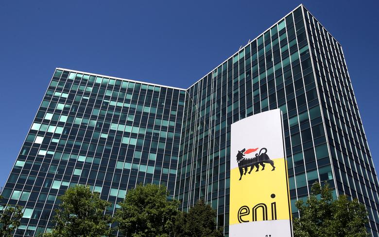 FILE PHOTO: Eni's logo is seen in front of its headquarters in San Donato Milanese, near Milan, Italy, April 27, 2016.  REUTERS/Stefano Rellandini/File Photo