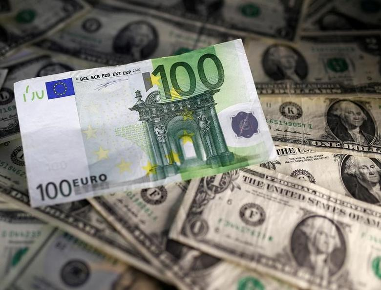U.S. dollar and Euro notes are seen in this November 7, 2016 picture illustration. Picture taken November 7. REUTERS/Dado Ruvic/Illustration/Files
