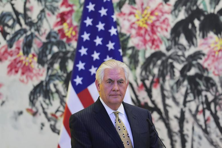 FILE PHOTO: U.S Secretary of State Rex Tillerson looks on during a joint press conference with Chinese Foreign Minister Wang Yi (not pictured) at Diaoyutai State Guesthouse in Beijing, China, March 18, 2017. REUTERS/Lintao Zhang/Pool