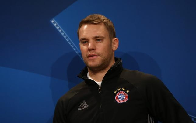 3月20日、ドイツ・サッカー協会は、GKマヌエル・ノイアー(写真)がふくらはぎのけがにより、ドイツ代表から離脱したと発表した。ミュンヘンで2月撮影(2017年 ロイター)