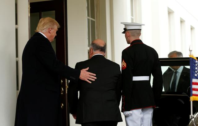 U.S. President Donald Trump greets Iraqi Prime Minister Haider al-Abadi at the White House in Washington, U.S., March 20, 2017. REUTERS/Kevin Lamarque
