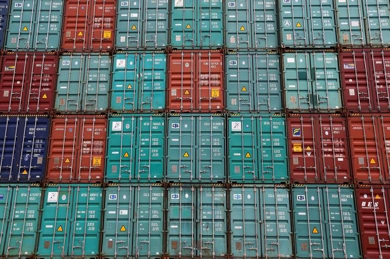 A stack of shipping containers are pictured in the Port of Miami in Miami, Florida, U.S., May 19, 2016. REUTERS/Carlo Allegri