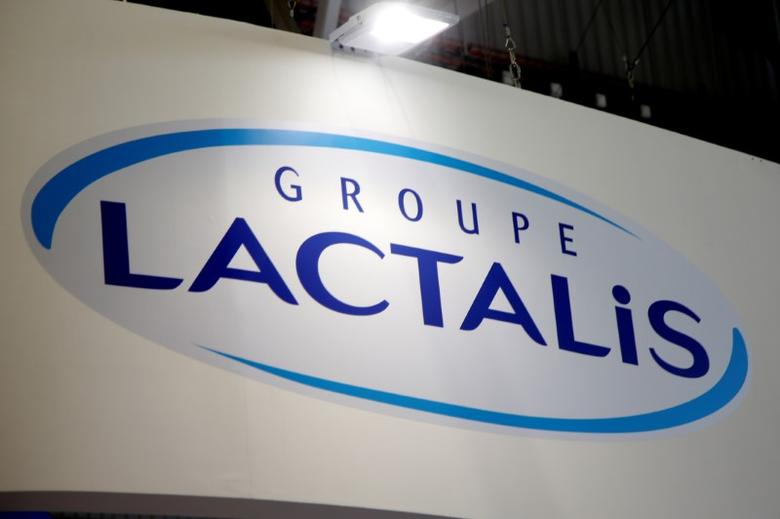 FILE PHOTO: Logo of the dairy group Lactalis are seen at the food exhibition Sial in Villepinte, near Paris, France, October 17, 2016.  REUTERS/Charles Platiau