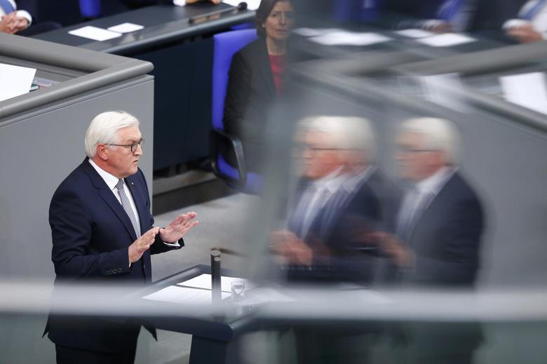 New German President Frank-Walter Steinmeier addresses the Bundestag after the swearing-in ceremony at the lower house of parliament Bundestag in Berlin, Germany, March 22, 2017. REUTERS/Hannibal Hanschke