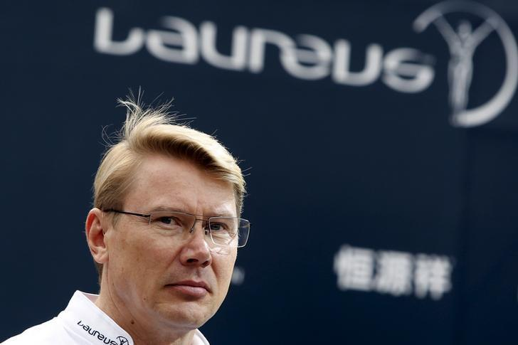 Former F1 World Champion Mika Hakkinen of Finland attends a interviews ahead of the Laureus World Sports Awards ceremony in Shanghai April 14, 2015. REUTERS/Aly Song/Files