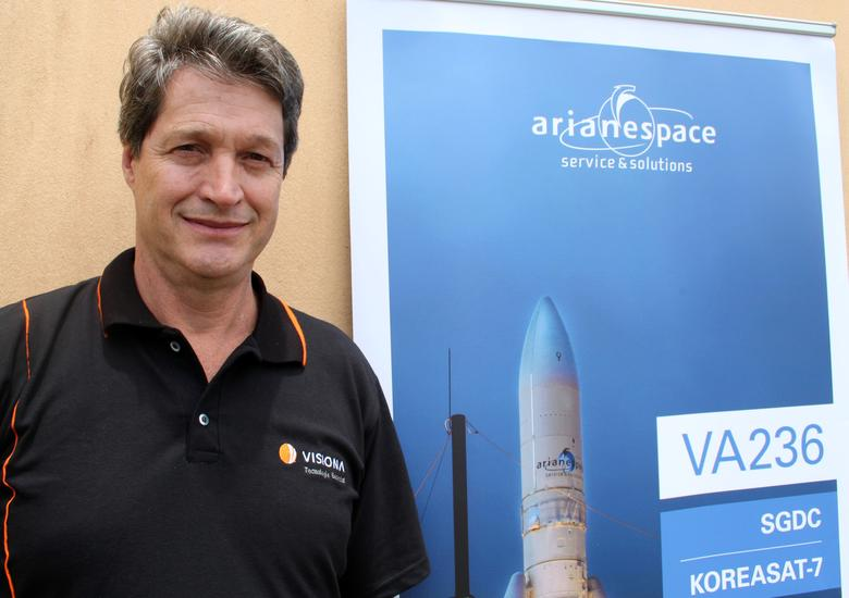 Visiona Chief Executive Eduardo Bonini poses for picture before the launch of Brazil's first defense and strategic satellite communications, in Kourou, French Guiana, March 21, 2017. REUTERS/Brad Haynes