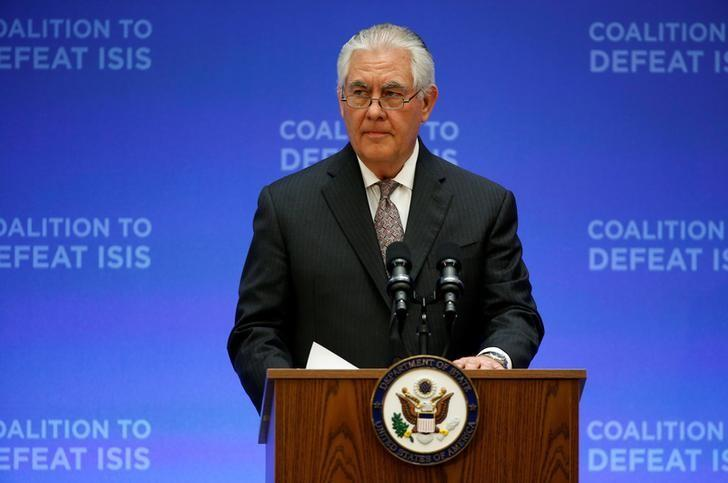 U.S. Secretary of State Rex Tillerson delivers remarks at the morning ministerial plenary for the Global Coalition working to Defeat ISIS at the State Department in Washington, U.S., March 22, 2017. REUTERS/Joshua Roberts