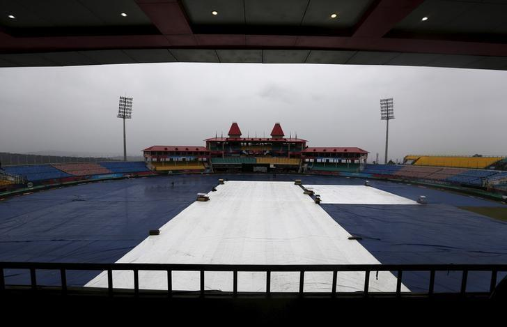 Cricket - World Twenty20 cricket tournament practice session - Dharamsala, India, 17/03/2016. A general view shows the ground covered as it rains ahead of the match between New Zealand and Australia.  REUTERS/Adnan Abidi/Files