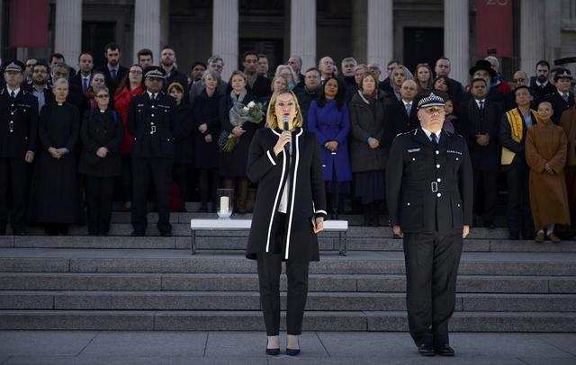 Britain's Home Secretary Amber Rudd speaks at a vigil in Trafalgar Square the day after an attack, in London, Britain March 23, 2017.   REUTERS/Hannah McKay