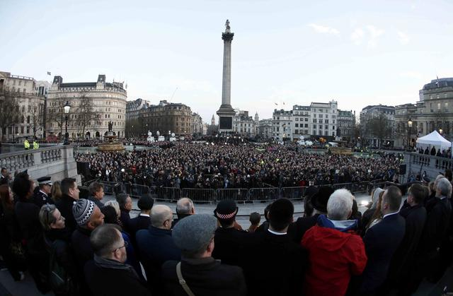 People attend a vigil in Trafalgar Square the day after an attack, in London, Britain March 23, 2017.  REUTERS/Stefan Wermuth