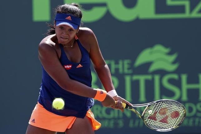 3月24日、テニスのマイアミ・オープン女子シングルス2回戦、大坂なおみ(写真)が第3シードのシモナ・ハレプに4─6、6─2、3─6で敗れた(2017年 ロイター/Geoff Burke-USA TODAY Sports)