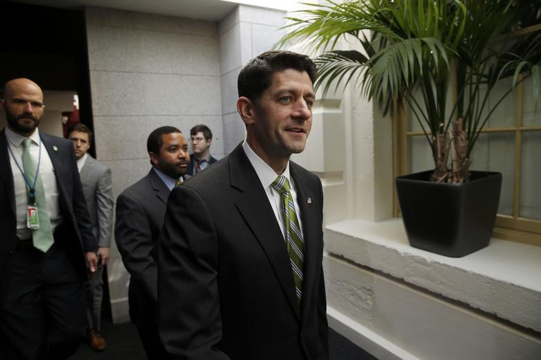 House Speaker Paul Ryan (R-WI) walks to a a news conference after Republicans pulled  the American Health Care Act bill to repeal and replace the Affordable Care Act act known as Obamacare, prior to a vote at the U.S. Capitol in Washington, March 24, 2017. REUTERS/Jonathan Ernst