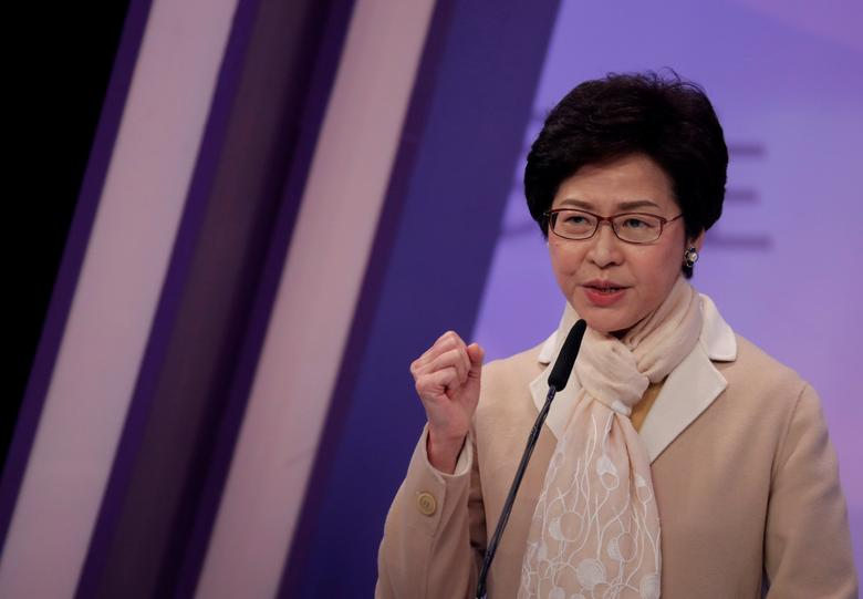 FILE PHOTO: Chief Executive candidate former Chief Secretary Carrie Lam speaks during a debate in Hong Kong, China March 14, 2017. REUTERS/Vincent Yu/Pool