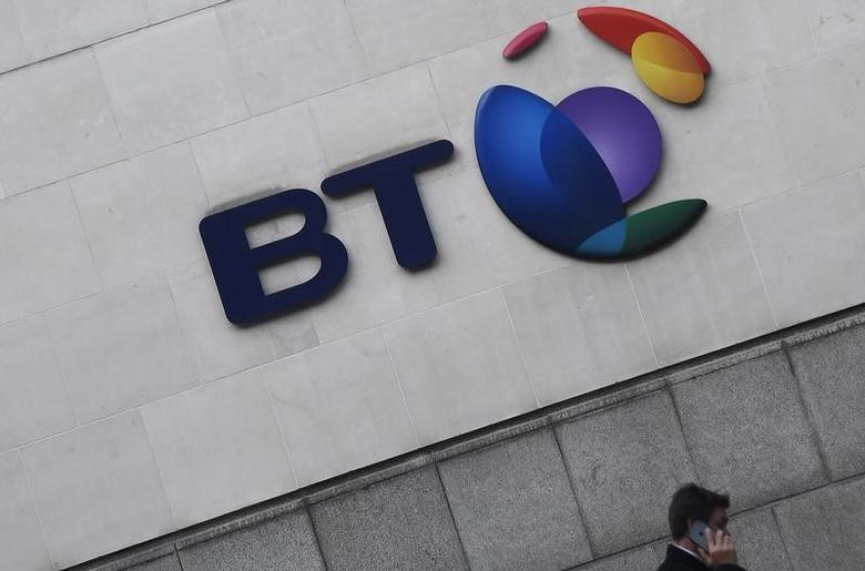 The logo for the British Telecom group is seen outside of offices in the City of London, Britain, January 16 , 2017. REUTERS/Toby Melville