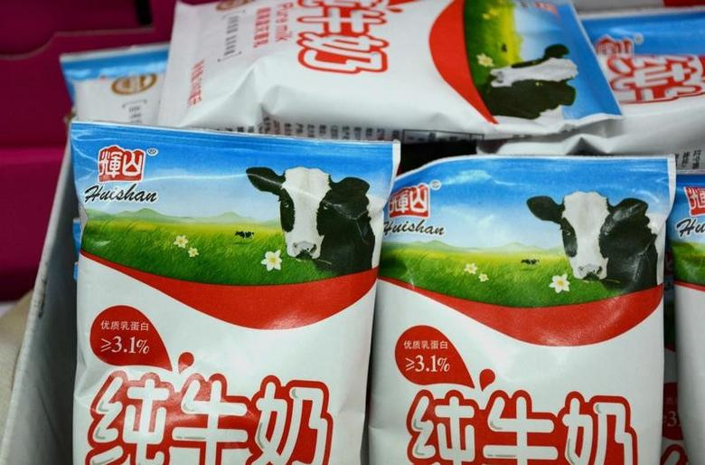 Products of Huishan Dairy are seen at a supermarket in Shenyang, Liaoning province, China March 25, 2017. Picture taken March 25, 2017. REUTERS/Stringer