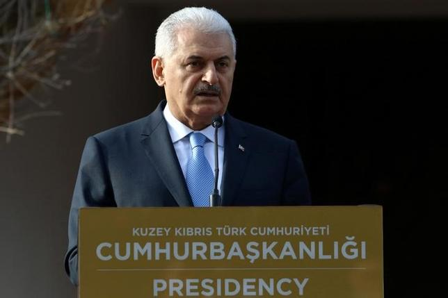 Turkish Prime Minister Binali Yildirim speaks to the media during a visit in Nicosia, northern Cyprus March 9, 2017. REUTERS/Yiannis Kourtoglou