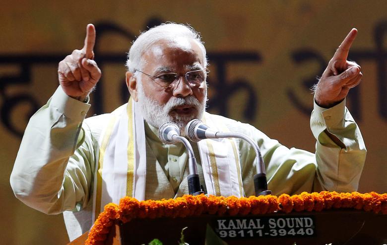 India's Prime Minister Narendra Modi addresses his supporters at Bharatiya Janata Party (BJP) headquarters in New Delhi, India, March 12, 2017. REUTERS/Adnan Abidi